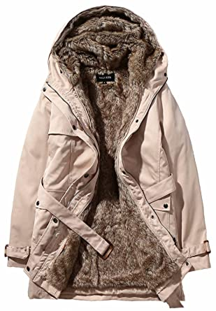 23b3b8f3fdfe Beinia Valuker Womens Winter Long Down Coat Warm Parka Faux Fur Lined Hooded  405-Beige
