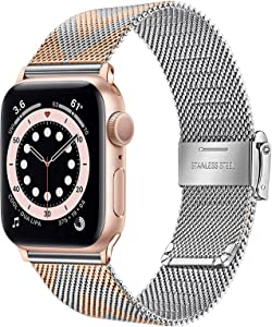 TRUMiRR Band for Apple Watch Series 6 / SE 40mm 38mm Women, Mesh Woven Stainless Steel Watchband Rose Gold Strap Arrow Pattern Bracelet for iWatch Apple Watch SE Series 6 5 4 3 2 1 40mm 38mm