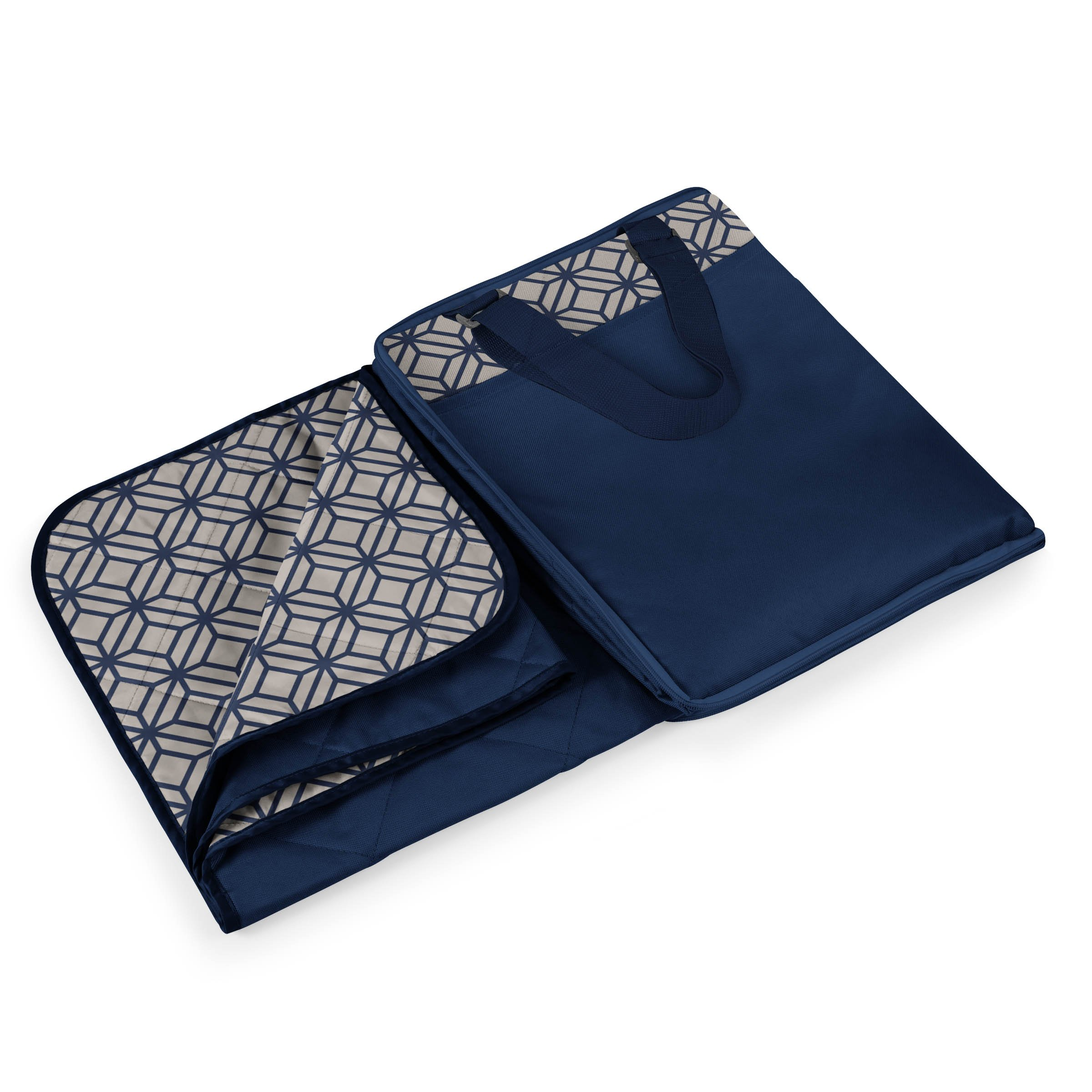 ONIVA - a Picnic Time Brand Vista Outdoor Picnic Blanket Tote XL, Midnight Blue with Morrocan Print