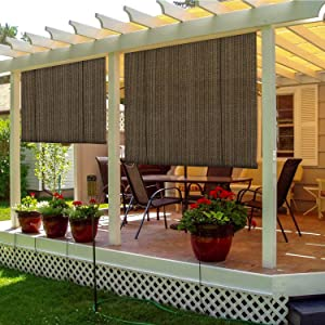 TANG Sunshades Depot Exterior Roller Shade for Deck Porch Pergola Balcony Backyard Patio or Other Outdoor Spaces Blinds Light Filtering Block 90% UV Rays Brown 5' x 6' (60'' x 72'')