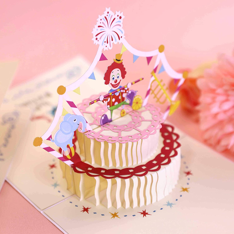 Outstanding Amazon Com 3D Clown Cake Pop Up Card Gift Greeting Card Birthday Funny Birthday Cards Online Inifodamsfinfo