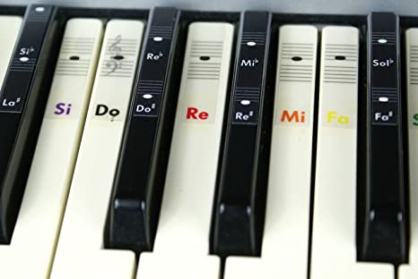 Piano teclado música Nota color pegatinas Do-Re-Mi-Fa-Sol-La-Si ...