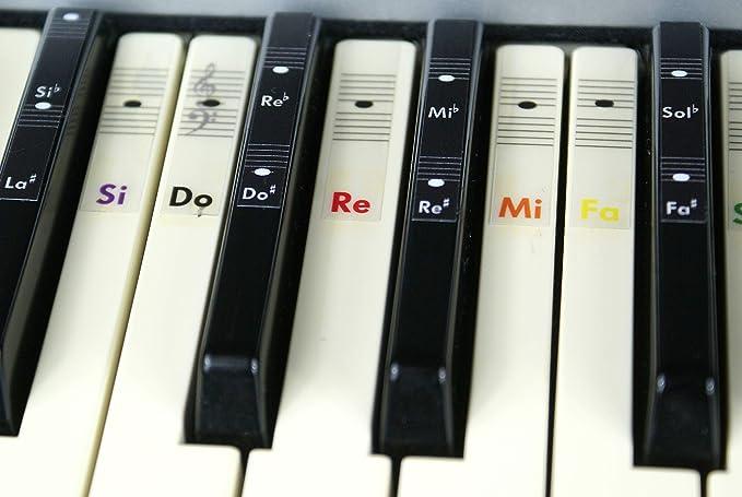Piano teclado música Nota color pegatinas Do-Re-Mi-Fa-Sol-La ...