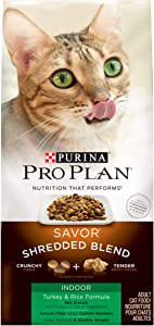 Purina Pro Plan Hairball, Indoor Dry Cat Food, SAVOR Shredded Blend Indoor Turkey & Rice Formula - 3 lb. Bag