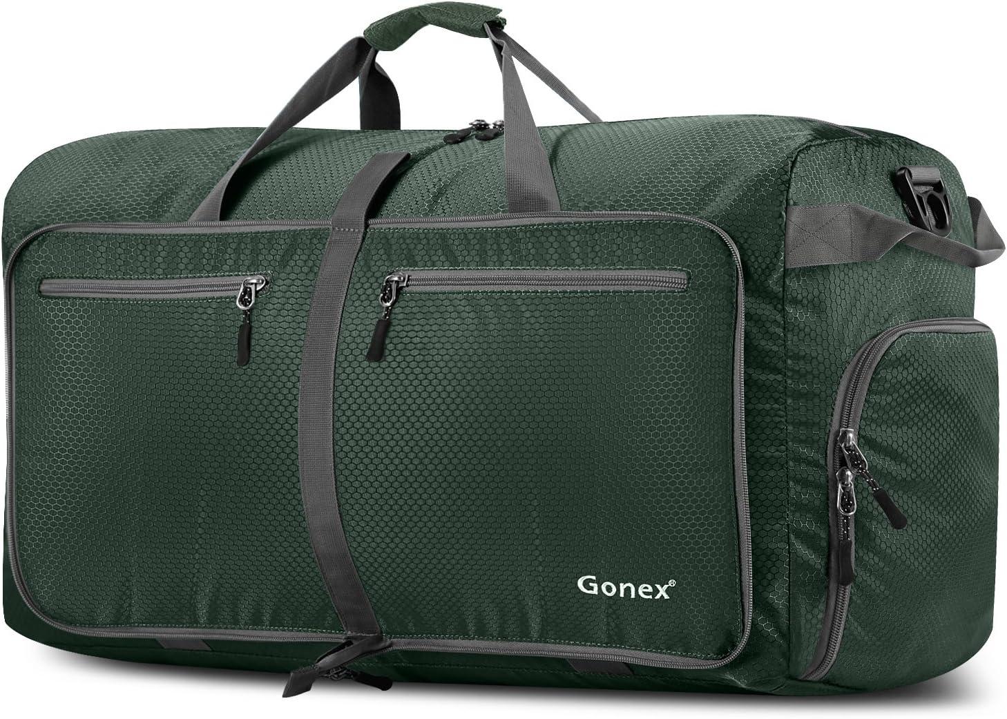 Gonex - Bolsa de Equipaje/Viaje de Duffel Plegable Impermeable y Resistente 100L Travel Bag para Viaje/Deporte Verde Oscuro