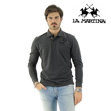 La Martina - Polo - Manga larga - para hombre gris XXL: Amazon.es ...