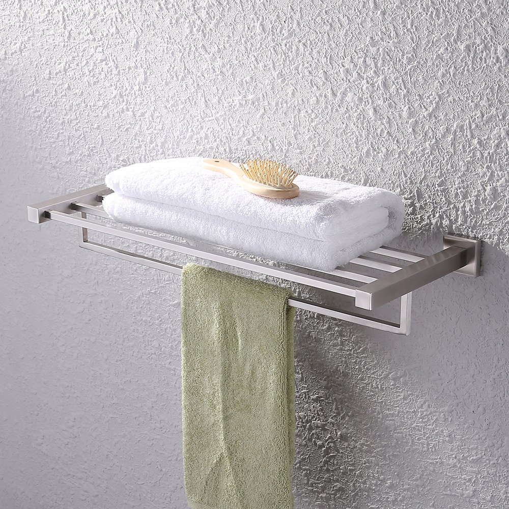 Kes Bath Towel Shelf, with Towel Bar Rustproof Stainless Steel 24 Inch Wall Mount, Brushed, A21010-2