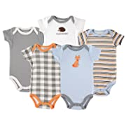 Luvable FriendsCotton Bodysuit, 5 Pack, Fox, 9-12 Months