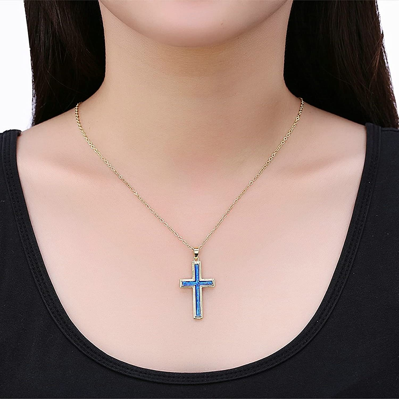 2 Length Adisaer Womens Gold Plated Pendant Necklaces Cross Pendant Blue Cubic Zirconia Extender 18