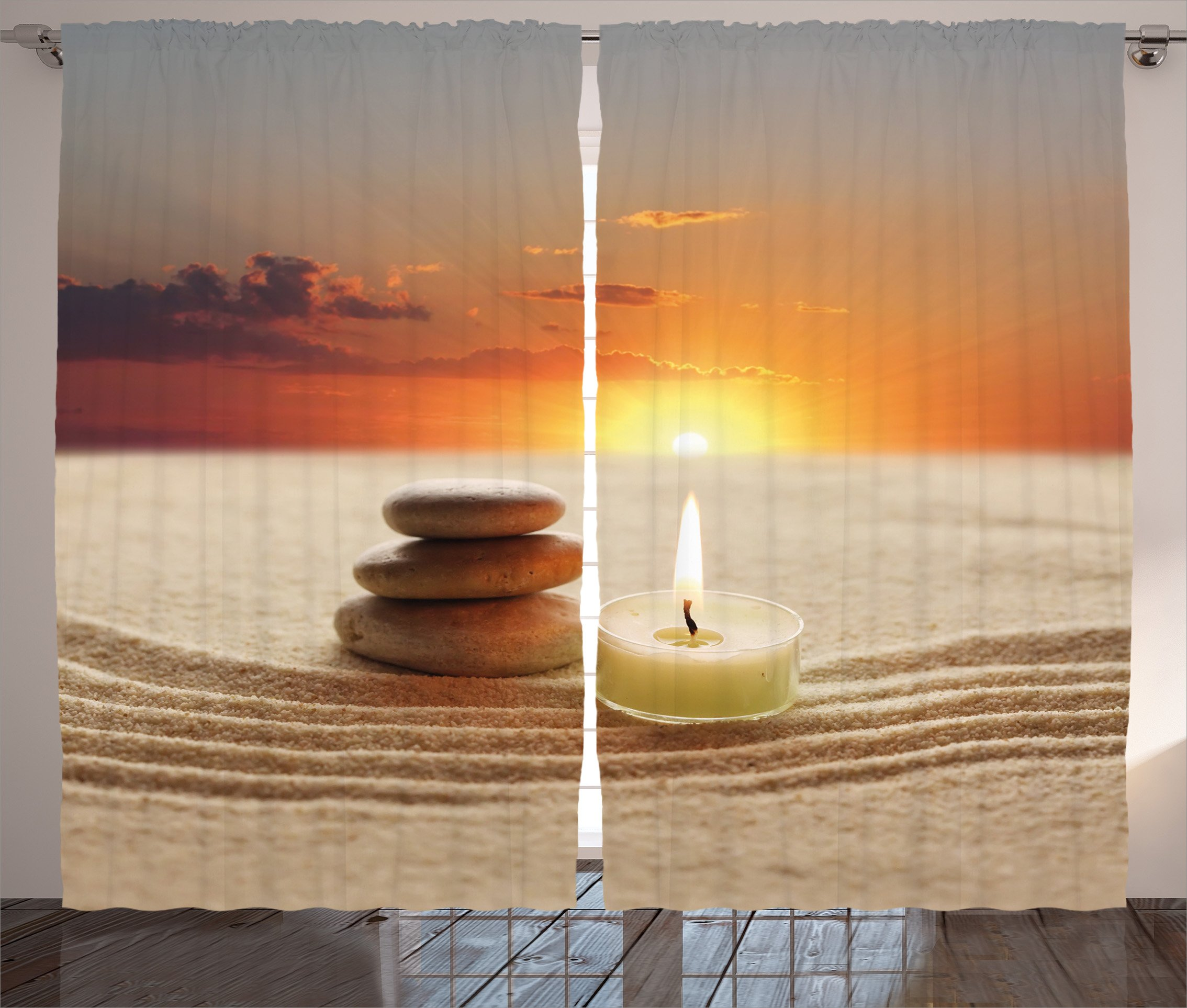 Ambesonne Spa Decor Curtains, Little Candle with Three Stones Middle of Sand with Sunset Landscape, Living Room Bedroom Window Drapes 2 Panel Set, 108W X 90L inches, White Brown and Orange