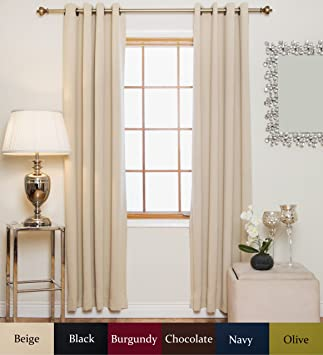 Curtains Ideas 120 inch length curtains : Amazon.com: Beige Antique Brass Grommet Top Thermal Insulated ...