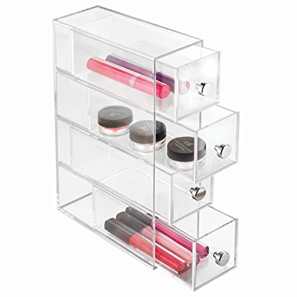 InterDesign Clarity 4 Drawer Cosmetic Organizer For Vanity Cabinet U2013  Perfect Storage Box For Makeup