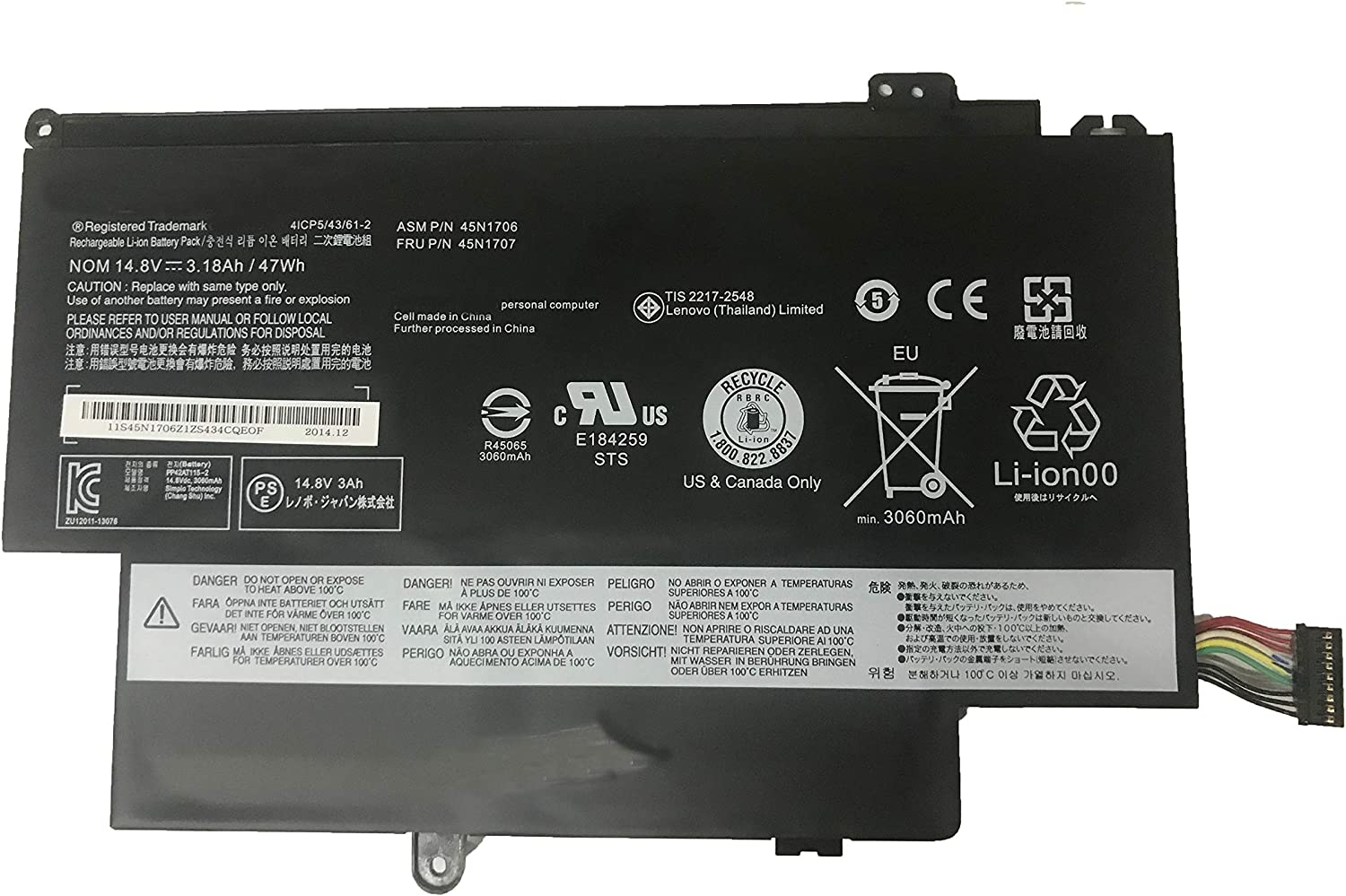 """SUNNEAR 45N1706 45N1707 48Wh Replacement Laptop Battery for Lenovo Thinkpad S1 Yoga 12 12.5"""" 20cds00800 20cds00700 20cds0050 Series Notebook 45N1704 45N1705 14.8V 3180mAh"""