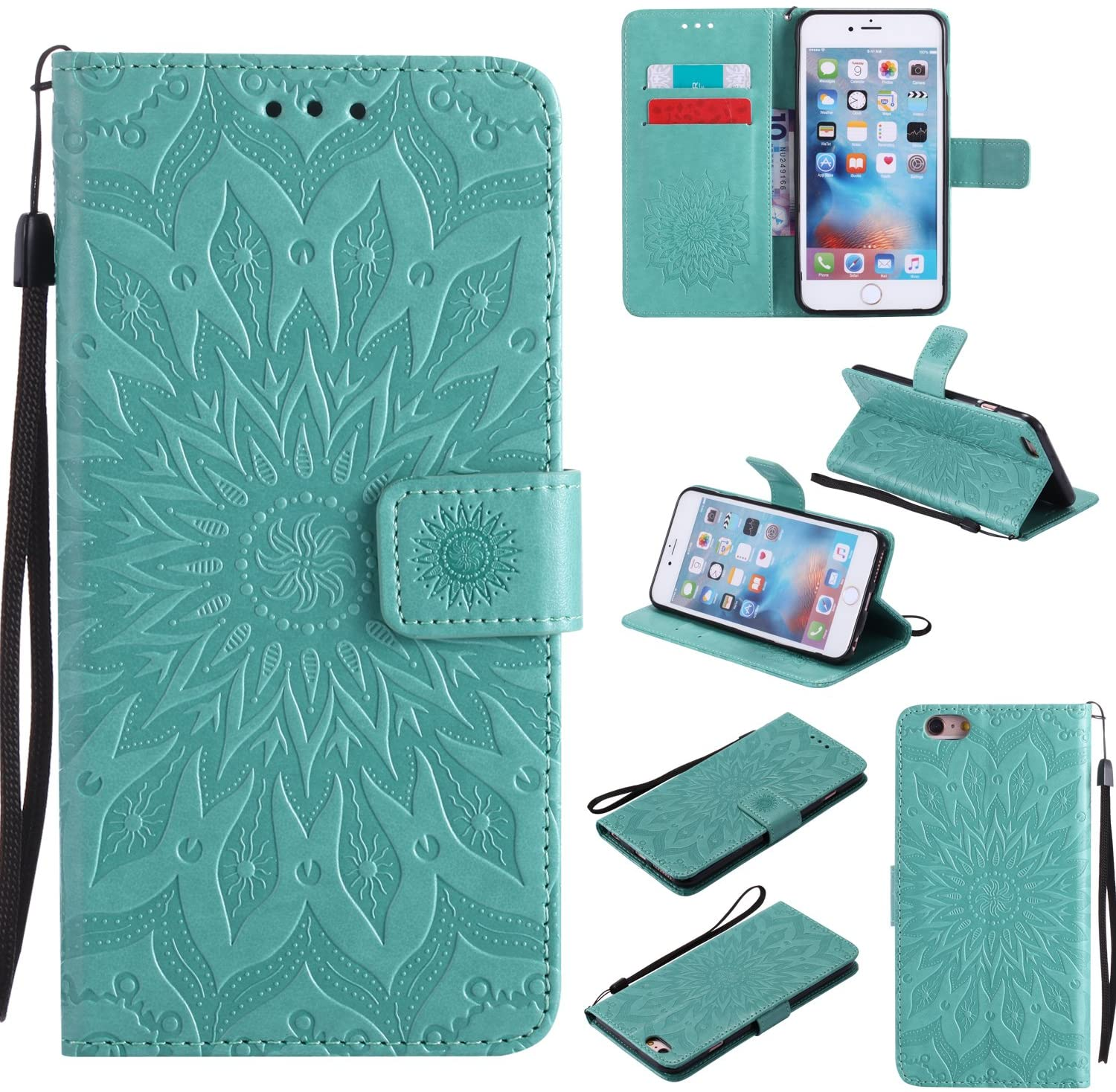 A-slim iPhone 6S Plus Wallet Case, (TM) Sun Pattern Embossed PU Leather Magnetic Flip Cover Card Holders & Hand Strap Wallet Purse Case for iPhone 6 Plus / 6S Plus [5.5 Inch] - Green
