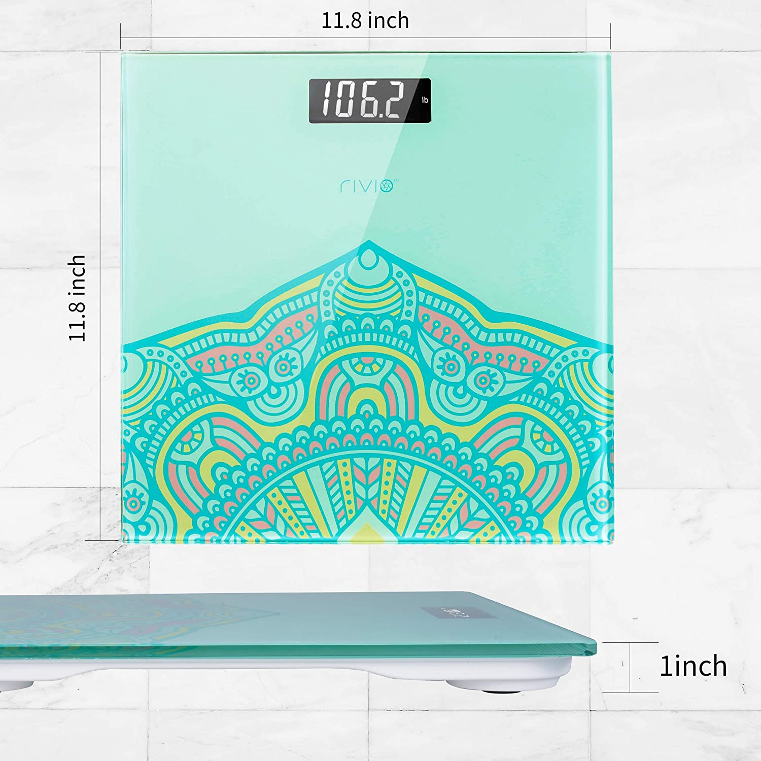 Pink RIVIO Bathroom Scale High Precision Digital Body Weight Scale with Large Backlit LCD Display 440Ib