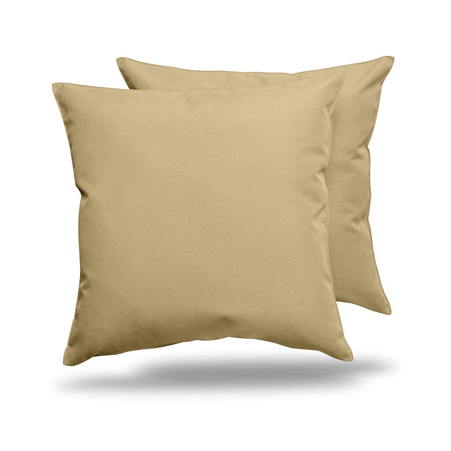 ALEXANDRA S SECRET HOME COLLECTION Outdoor Decorative Throw Pillow Pack of 2 Stuffed Throw Pillows UV Resistant Water Proof Complete Pillow with Polyester Fill Insert Solid 18 x 18 , Khaki