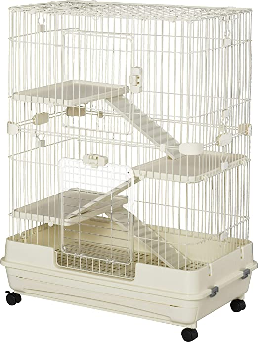 """PawHut 32""""L 4-Level Indoor Small Animal Rabbit Cage with Wheels"""