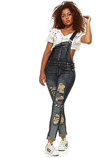 d053f693d4c V.I.P.JEANS Casual Blue Jean Bib Strap Pocket Overalls for Women Slim Fit  Junior or Plus