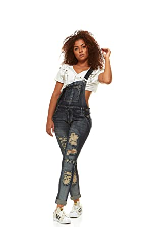 fc94bbb9d V.I.P.JEANS Casual Blue Jean Bib Strap Pocket Overalls for Women Ankle  Length Slim Fit Junior