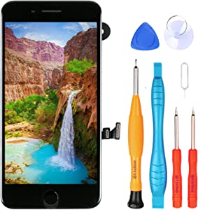 Ayake for iPhone 7 Plus Screen Replacement with Home Button, Full Assembly Retina LCD Touch Display Digitizer with Front Camera+Earpiece Speaker+Proximity Sensor+Tools for A1661, A1784, A1785 (Black)