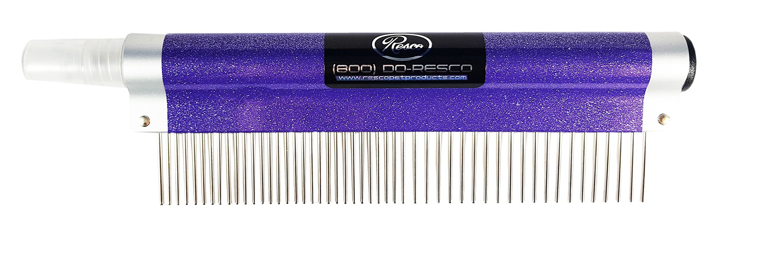 Resco USA-Made Spritzer Comb for Pets, 1'' Combination, Sparkle Purple, Includes Detangler and Finishing Spray