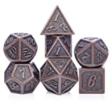 D&D Metal Dice Set, 7PCS Ancient Copper Dice with Metal Tin for Dragons Player, Shadowrun, Pathfinder, Savage World and Table Games
