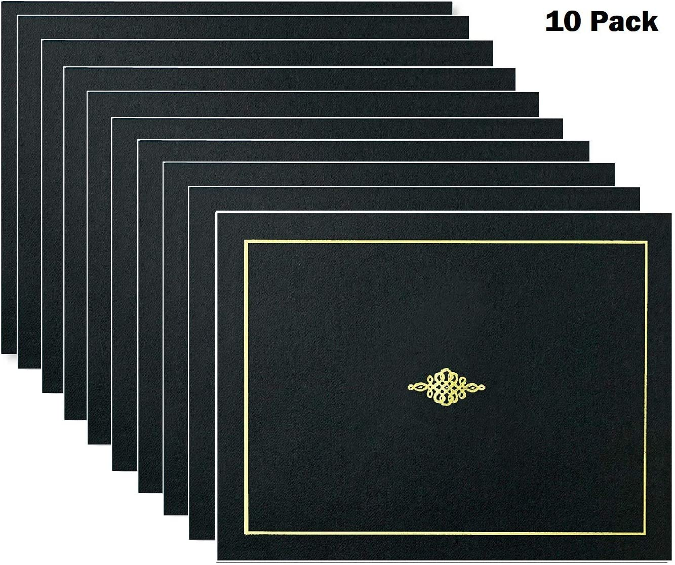 Black Certificate Jacket with Silver Foil Crest 10 Count
