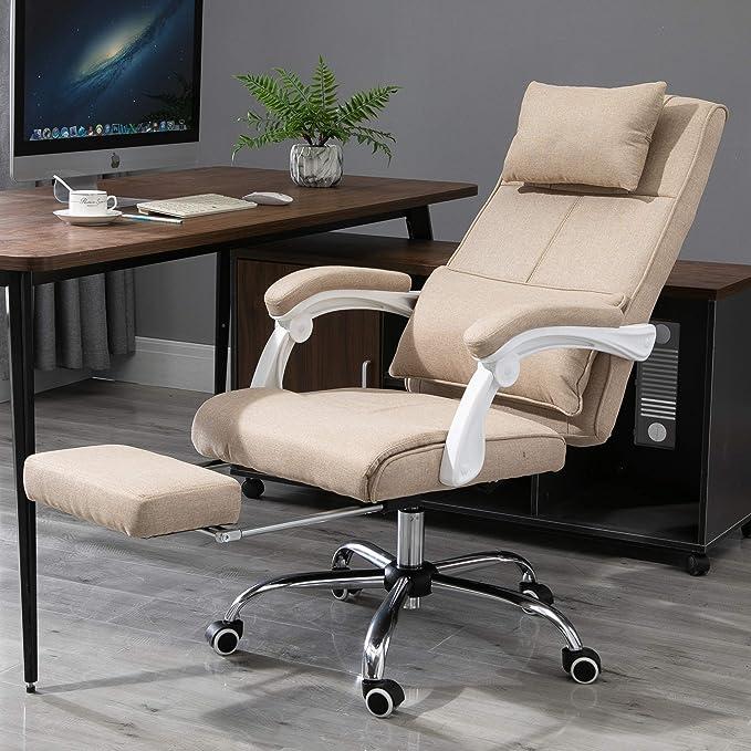 Fauteuil de bureau manager grand confort repose pied tétière intégrés dossier inclinable lin beige