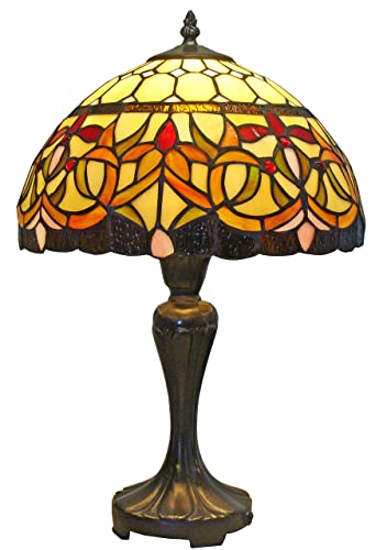 Amora Lighting AM018TL12 Tiffany Style Floral Table Lamp 12-Inch Wide, Multi