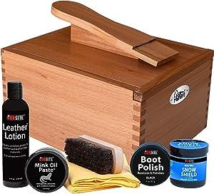 FootMatters Professional Shoe Shine Valet Kit - Includes Hardwood Boot & Shoe Care Box, Horsehair Brush, Mink Oil, Waterproof, Polish, Leather Lotion