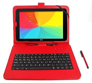 DURAGADGET Funda/Teclado ESPAÑOL Roja para LG G Pad II 10.1: Amazon.es: Electrónica