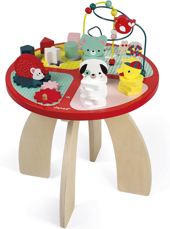 Janod - Mesa de actividades Baby Forest- Hecho en madera, Juguete que despierta los sentidos, Laberinto, ábaco, engranaje y 3 animales de madera, Desde 1 año, J08018