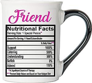 Cottage Creek Coffee Mug, Large Food Label Friend Mug, 18oz Ceramic Friend Coffee Cup, Friend Mug [White]