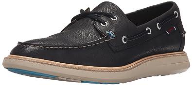 Mens Smyth Two Eye Boat Shoe, Black Leather, 8.5 M US Sebago