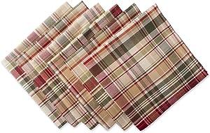 "Cabin Plaid 100% Cotton Oversized Napkin, Set of 6 (20x20"")"