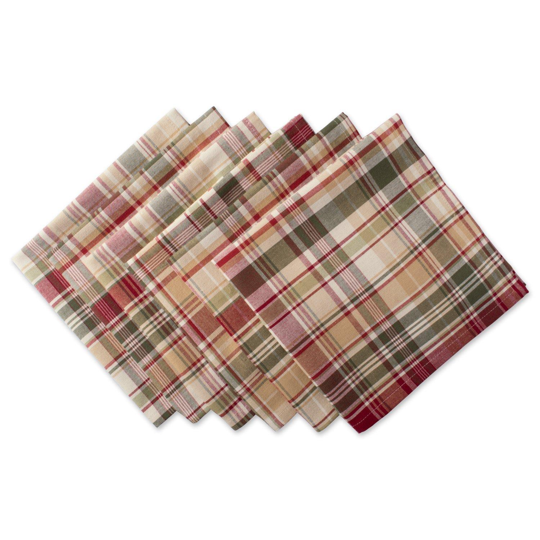 DII Cabin Plaid 100% Cotton Oversized Napkin, Set of 6 (20x20)