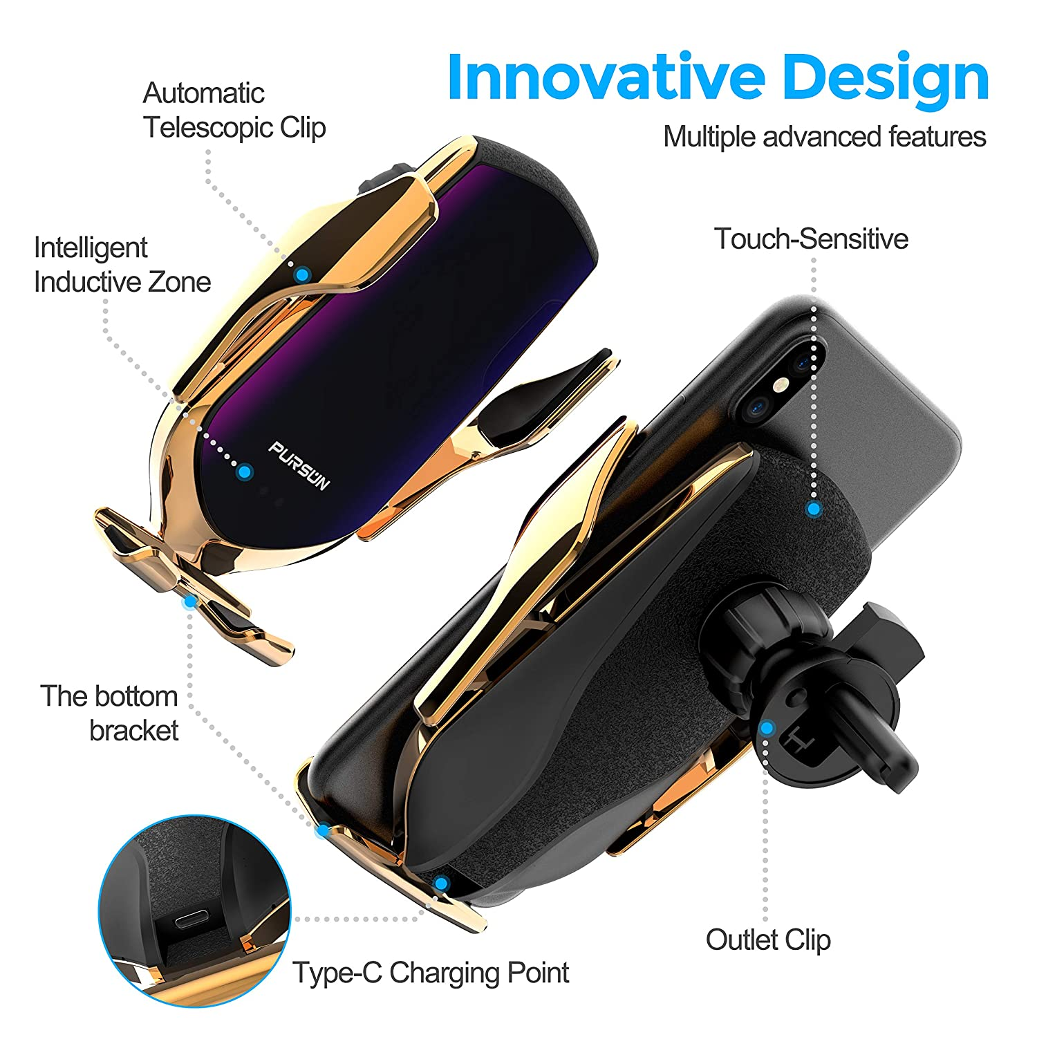 Samsung 2020 Updated Universal Air Vent Car Cell Phone Holder Hands-Free One Touch Automatic Clamp Car Phone Mount Cradles for iPhone Google Pixel Nokia and More Smartphone Moto