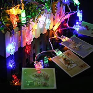Ecurfu Photo Clips String Lights/Holder, Fairy Light Clear Clips for Hanging Photos Pictures Cards and Memos, Great for Thanksgiving Christmas Party Wedding Décor - 50 LED 17Ft Multi- Colors
