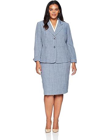 c8253d163ab6 Le Suit Women s Size Plus Melange 2 Bttn Notch Lapel Skirt Suit