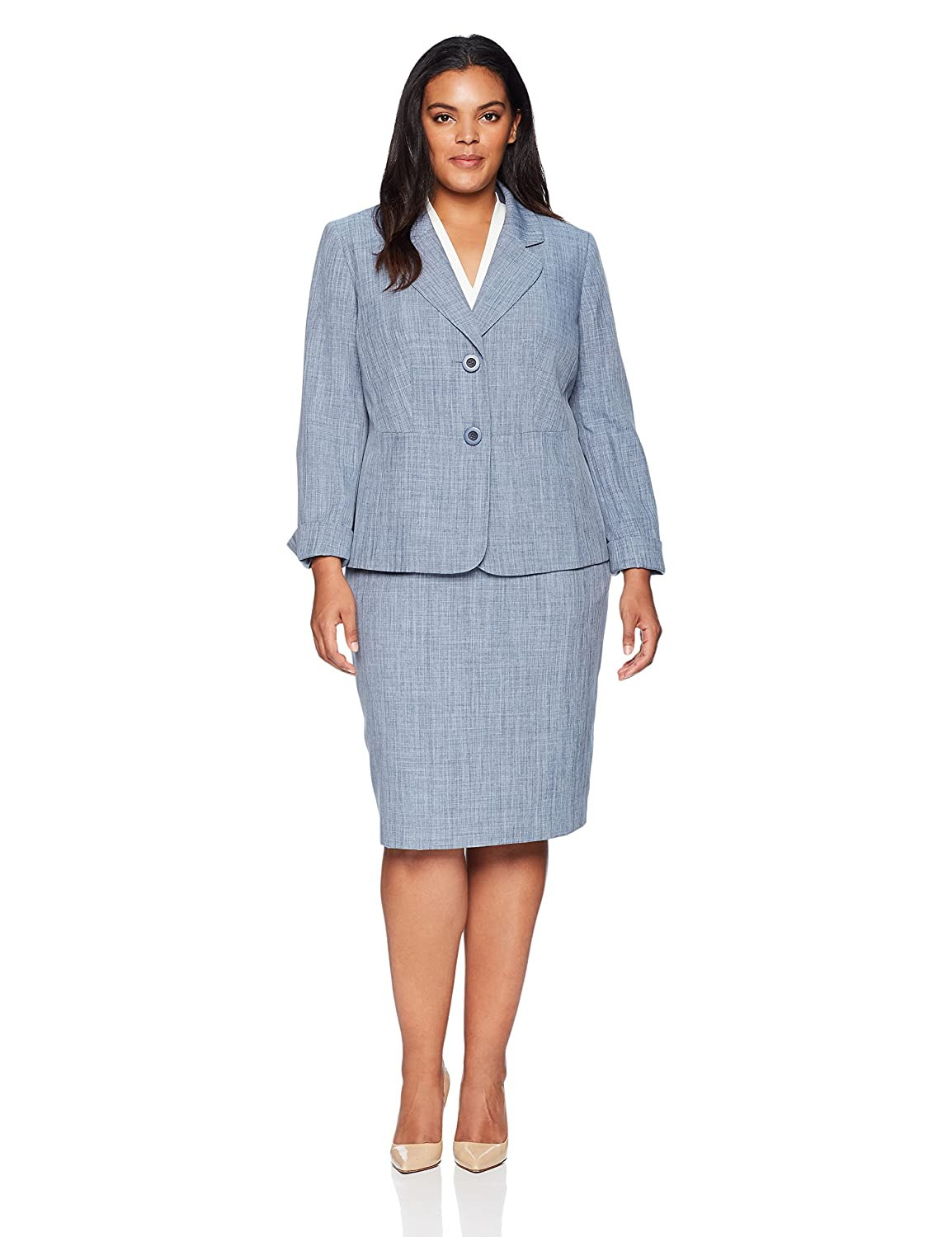 Le Suit Women's Size Plus Melange 2 Bttn Notch Lapel Skirt 50036981