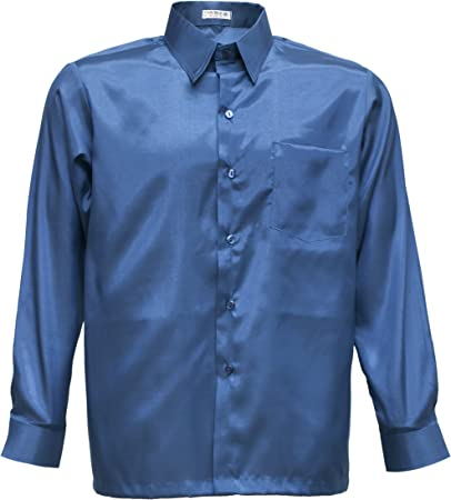 Tashisun Camiseta para Hombre de Manga Larga de Seda tailandesa Azul Marino, Azul Marino, XXX-Large: Amazon.es: Hogar