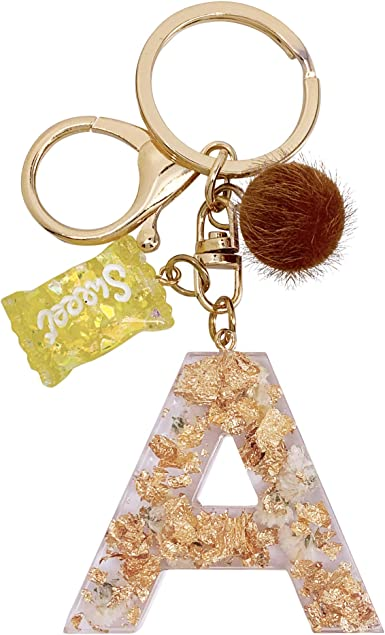 Floral keychain Letter key ring Initial keychain