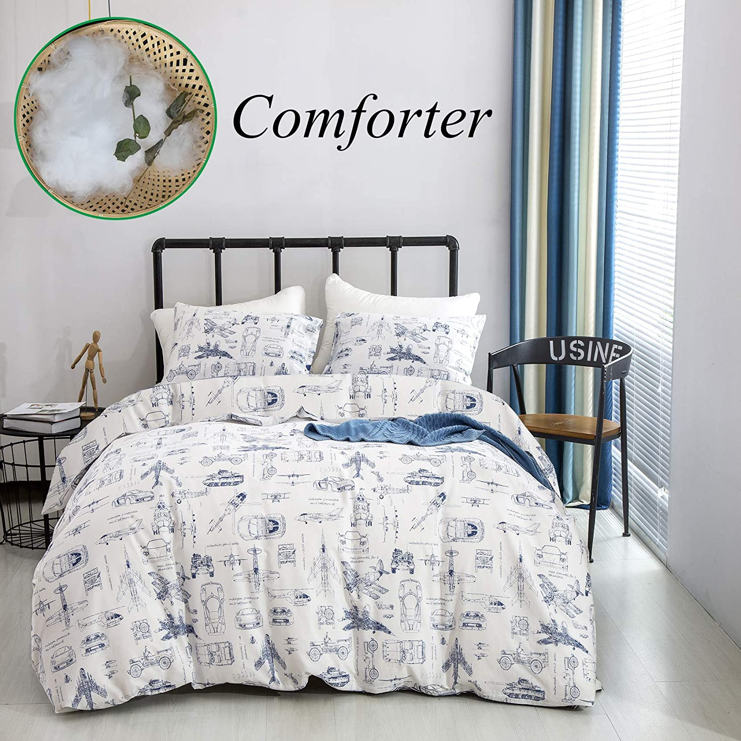Wellboo Aircraft Comforter Boys Kids Plane Bedding Sets Military Cars White Comforter Sets Cotton Children Cartoon Twin Transport Comforter Reversible White and Blue Bedding Breathable Durable Healthy