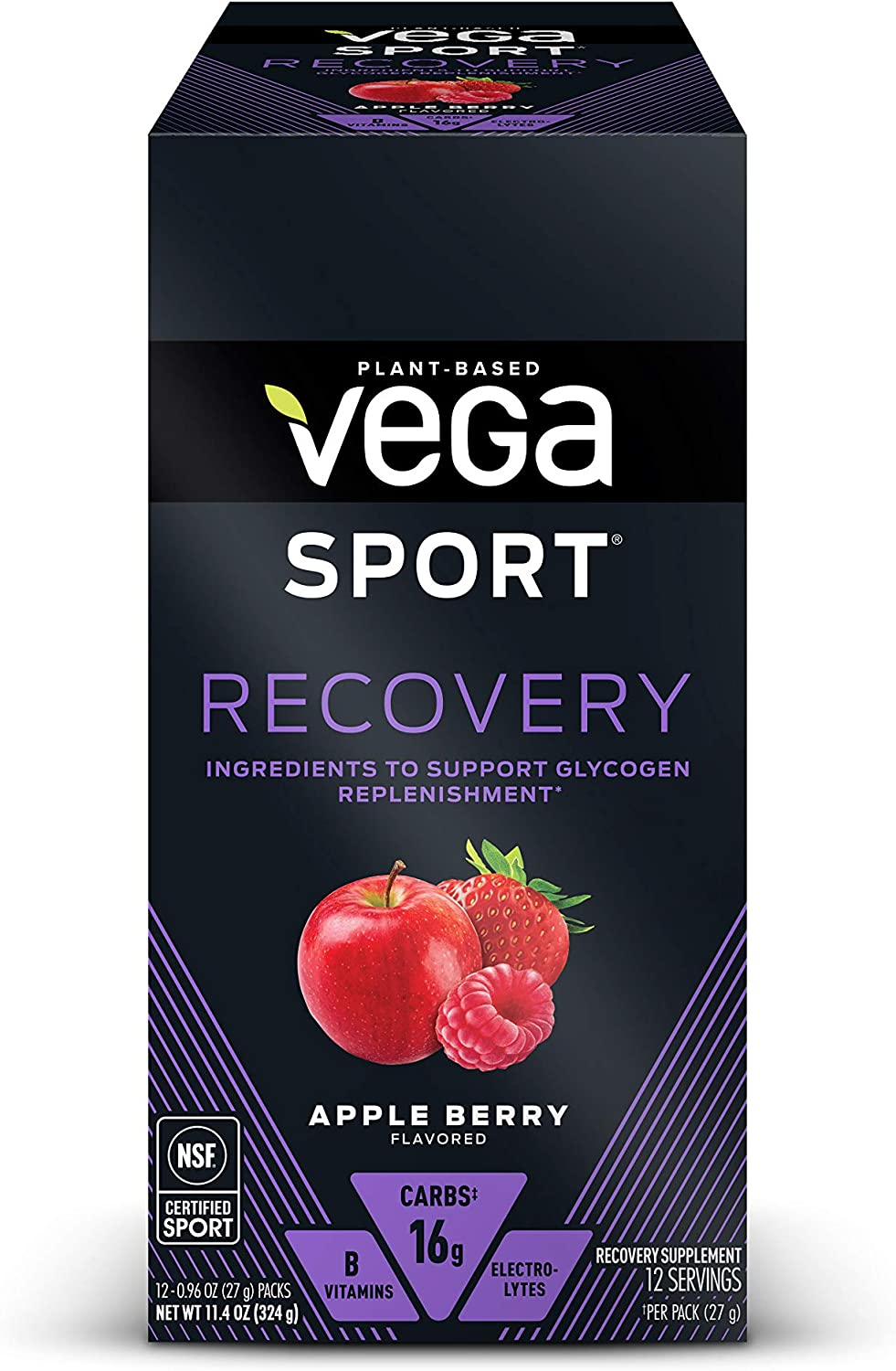 Vega Sport Recovery, Apple Berry - Post Workout Recovery Drink Mix with Electrolytes, Carbohydrates, B-Vitamins and Protein, Vegan, Lactose Free, Dairy Free, Gluten Free, Non GMO (12 Count )