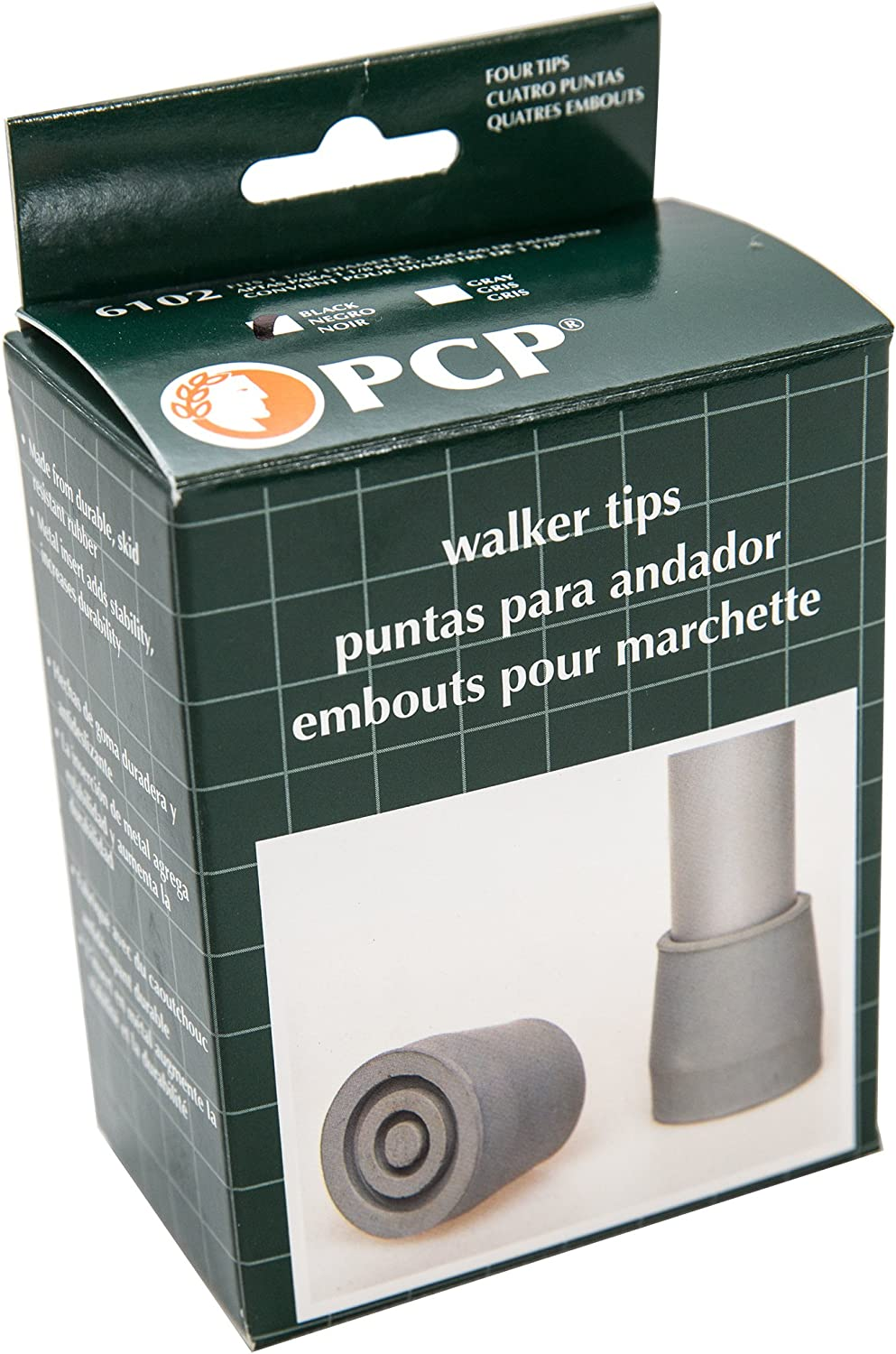 PCP Replacement Walker Tips, Reinforced Rubber Glides, Fits 1.14