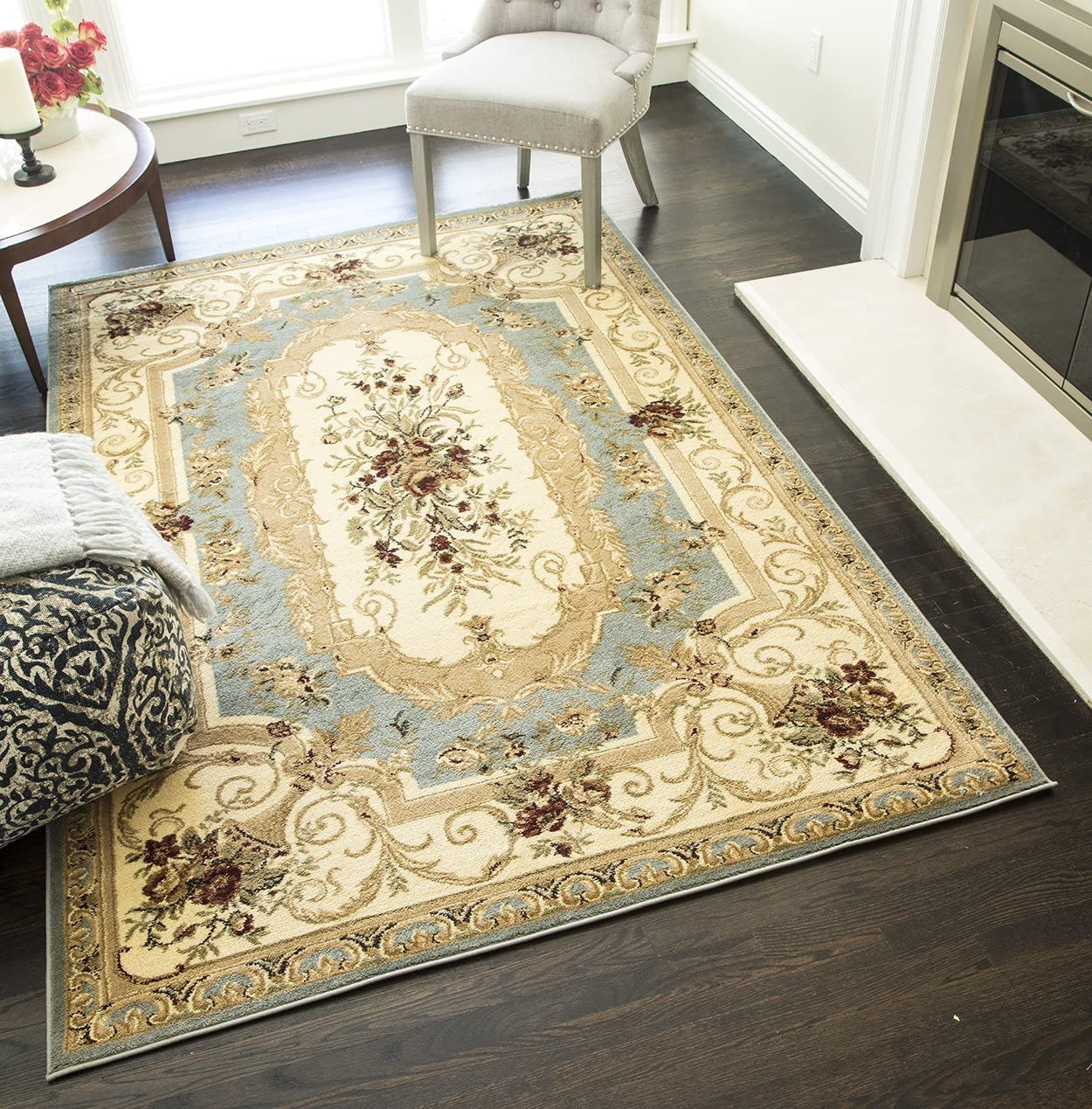 Rugs America Sorrento Area Rug, 5-Feet 3-Inch by 7-Feet 10-Inch, Aubusson Light Blue