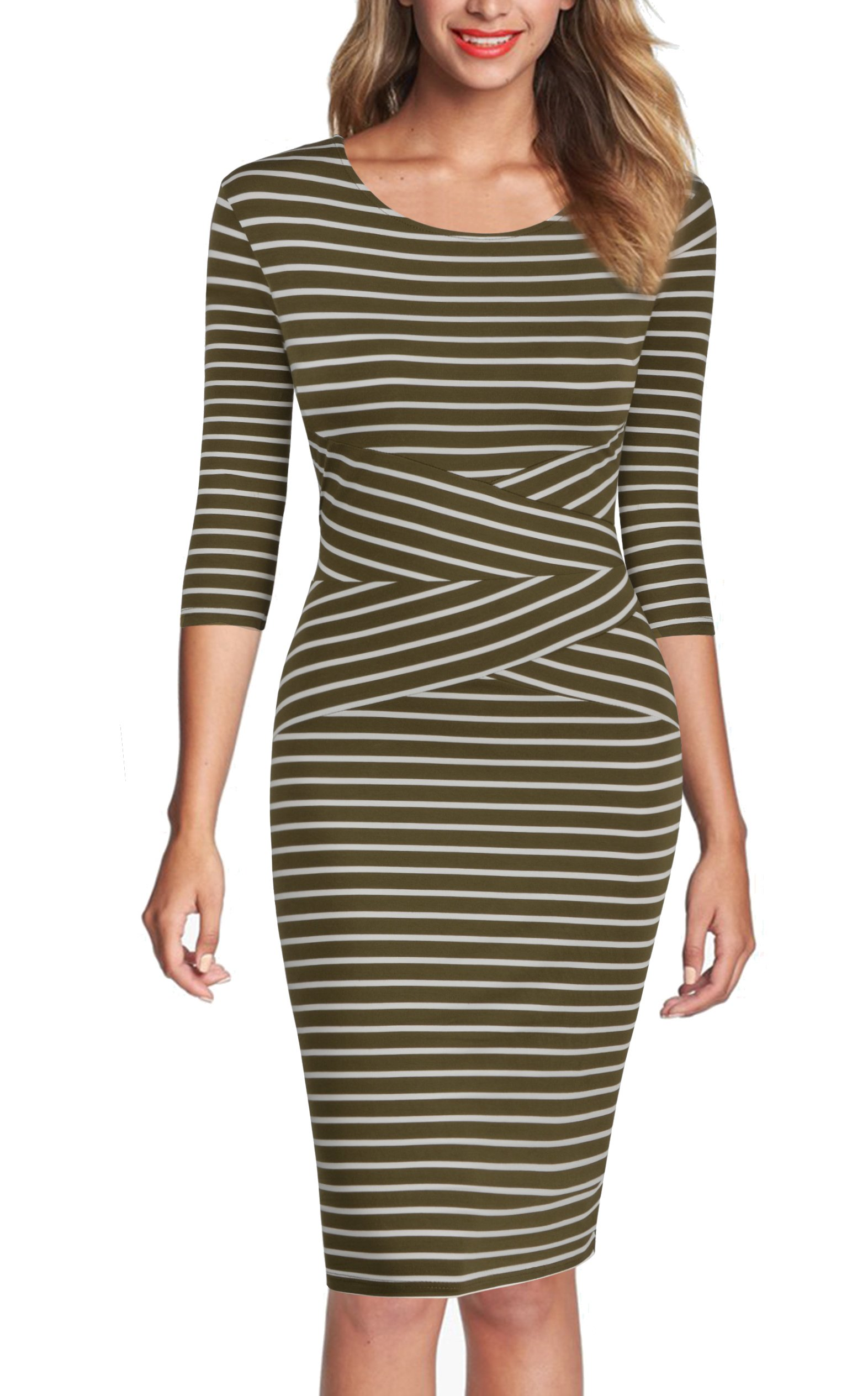 REPHYLLIS Women 3/4 Sleeve Striped Wear to Work Business Cocktail Pencil Dress (Small, Armygreen) by REPHYLLIS® (Image #4)