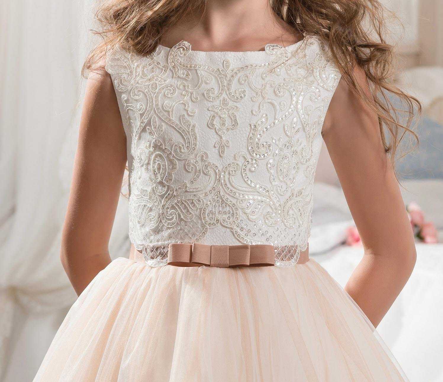 KissAngel Ivory Long Lace Flower Girl Dresses Champagne Less Party Dress (2, Ivory &Champagne) by KissAngel (Image #4)