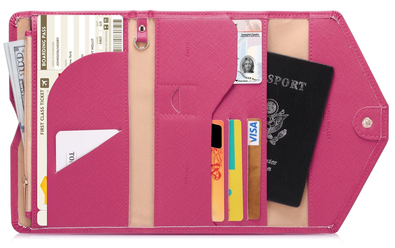 Zoppen多目的Rfidブロッキングトラベルパスポート財布(Ver.4)三つ折りオーガナイザーホルダー,ローズレッド  ローズレッド B0179BOJL8