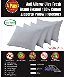 Lab Certified Anti Dust Mite Allergy Pillow Protectors Ultra Fresh Treated 4 Pack Standard 20x26inches 100% Cotton Non Crinkle Quiet Breathable Zipper Covers Cases Anti Microbial Barrier Set